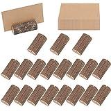 Belle Vous Porta Tarjetas de Madera Rustico (20 Pack)- Tarjetas 30 para Nombres para Notas, Foto, Mensaje, Porta Notas Numero de Mesa para Fiesta, Boda y otras Ocasiones