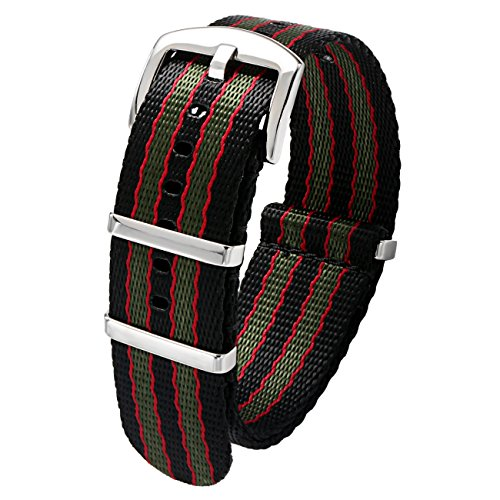 PBCODE Seat Belt 22mm strap Black/Red/Green Vintage Old style Watch Strap Nylon Replacement Band