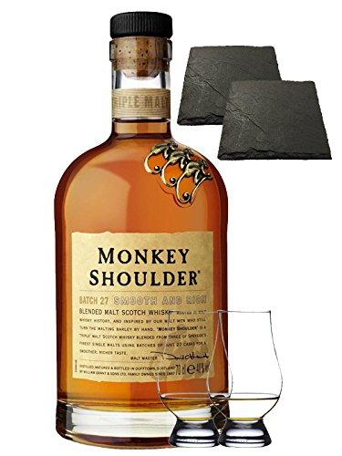 Monkey Shoulder Blended Malt Whisky 0,7 Liter + 2 Glencairn Gläser und 2 Schieferuntersetzer ca. 9,5 cm