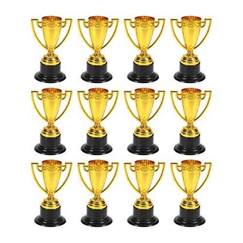 Tomaibaby 24-Teilige Goldene Plastik-Trophäe Mini-Trophäe Belohnungs-Pokal-Trophäen für Kinderfeiern Sportwettbewerb Karneval
