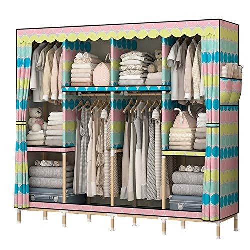 Armario portátil para armario o armario con barra para colgar ropa rápida y fácil de montar, tela impermeable extra fuerte y duradera, para ropa zapatos, 165 x 45 x 170 cm para dormitorio (color: B)