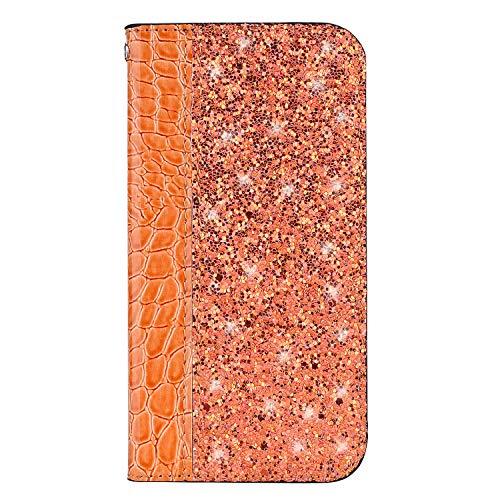 Lomogo Huawei Honor 7X Hülle Leder, Schutzhülle Brieftasche mit Kartenfach Klappbar Magnetisch Stoßfest Handyhülle Case für Huawei Honor 7X - LOHFA020295 Orange
