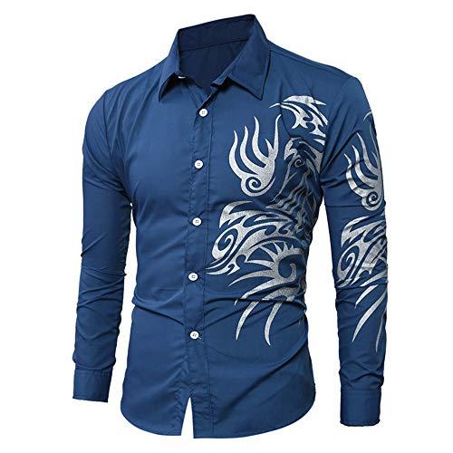 SALEBLOUSE 2020 New Men's Casual Simple Dragon Print Pattern Lapel Button Classic Formal Business Long Sleeve T-Shirt Cardigan Top Jakets Outwear Dark Blue