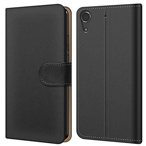 Conie BW5767 Basic Wallet Kompatibel mit HTC Desire 728G, Booklet PU Leder Hülle Tasche mit Kartenfächer & Aufstellfunktion für Desire 728G Case Schwarz