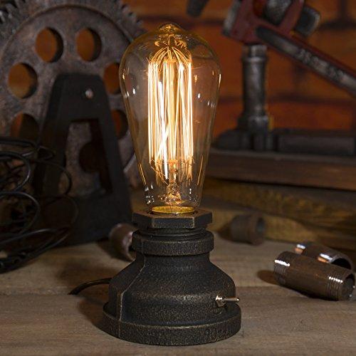 IMQOQ Tischlampe mit Edison-Glühbirne, Vintage-Stil, Industrie-Stil Antik St64