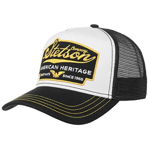 Stetson American Heritage Trucker Cap Herren - Basecap im amerikanischen Stil - Snapback Cap mit luftigem Netzeinsatz - Meshcap Sommer/Winter - Baseballcap schwarz One Size