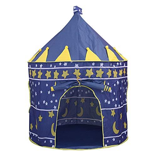 YOUCAI Grosse Kinderzelt, Folding Spielzelt Princess Castle Zelt Tragbare Pop-up Zelt Mädchen Jungen Spielhaus für im Kinderzimmer, Indoor/innen/außen/draußen Blau One Size
