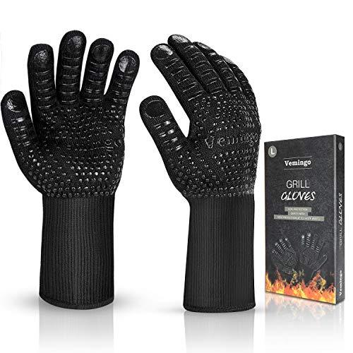 Vemingo Feuerfeste Handschuhe Grillhandschuhe Ofenhandschuhe | EN407 Hitzebeständige Bis zu 800 ° C | Kochhandschuhe Backhandschuhe für BBQ Kochen Backen | Schweißen-Klassisch