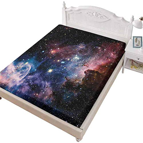 SoSung Twin Size Fitted Sheet 3D Printed with Space ations Space Space,Space Nebula in The Space with Crystal Star Cluster,Bed Cover with All-Round Elastic Deep Pocket for Comfort