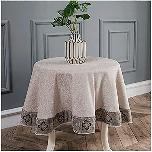 Manteles de algodón y lino, mantel redondo de hotel, restaurante, picnic, barbacoa, patio y cocina, manteles de comedor (tamaño 120 cm de diámetro)