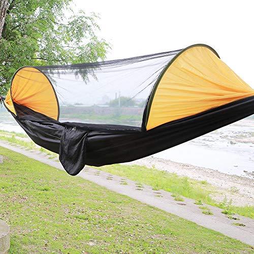 Defacto hangmat, hangstoel met muggenstoel, hangstoel, schommelstoel, ademend, parachutestof, XXL, maat 250x120 cm [DF-HM-03