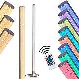 LED Stehlampe Pipe, dimmbare Stehleuchte aus Metall in Nickel-matt, 14,5 Watt, 1200 Lumen, 3000 Kelvin (warmweiß), Standleuchte mit RGB Farbwechsler und Fernbedienung, Bodenlampe mit Glitzer-Effekt
