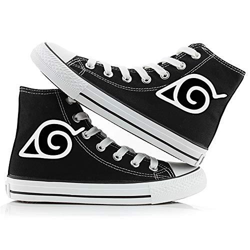 JPTYJ Uzumaki Naruto Uchiha Sasuke/Sharingan High Top Graffiti Unisex High Top Zapatos Anime Casual Shoes Estudiantes Canvas Shoes Sneakers B-36
