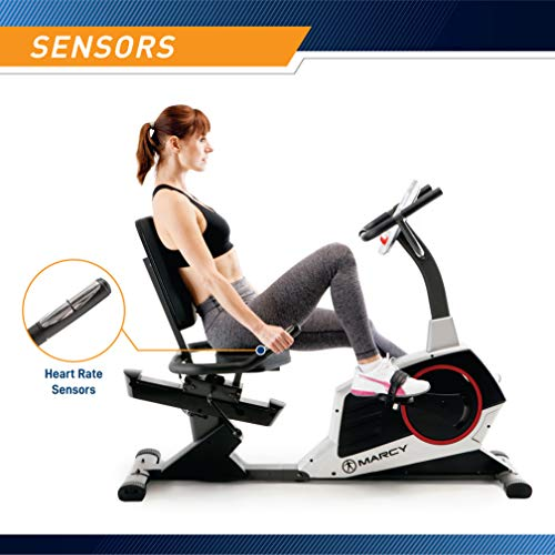 Product Image 5: Marcy Regenerating Recumbent Exercise Bike with Adjustable Seat, Pulse Monitor and Transport Wheels ME-706