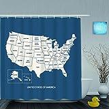 JOSENI Duschvorhang,USA-Karte MIT NAMENNAMEN,VEREINIGTE Staaten VON Amerika-Karte,personalisierte Deko Badezimmer Vorhang,mit Haken,180 * 180