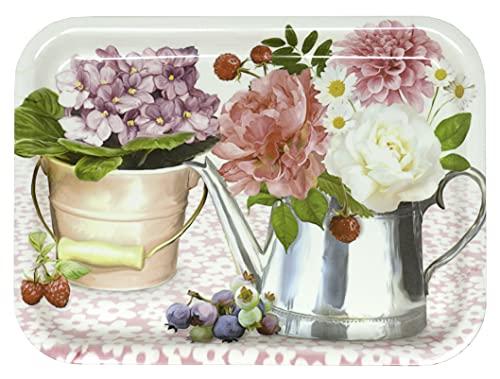 Lashuma Bandeja rectangular para servir, de melamina, multicolor, diseño de peonía, 31 x 23 cm