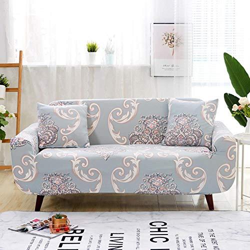 Jacquard, vit grå stretch sofföverdrag polyester spandex tryckt sofföverdrag 4-sits halkskydd sofföverdrag universal sofföverdrag möbler skyddande fodral