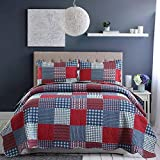 Red Blue Plaid Quilt Full/Queen Size Patchwork Bedspread Country Quilt Blue White Plaid Bedspread Reversible Plaid Printed Quilt Mens Lightweight Coverlet Set Plaid Quilts+2 Pillow Shams