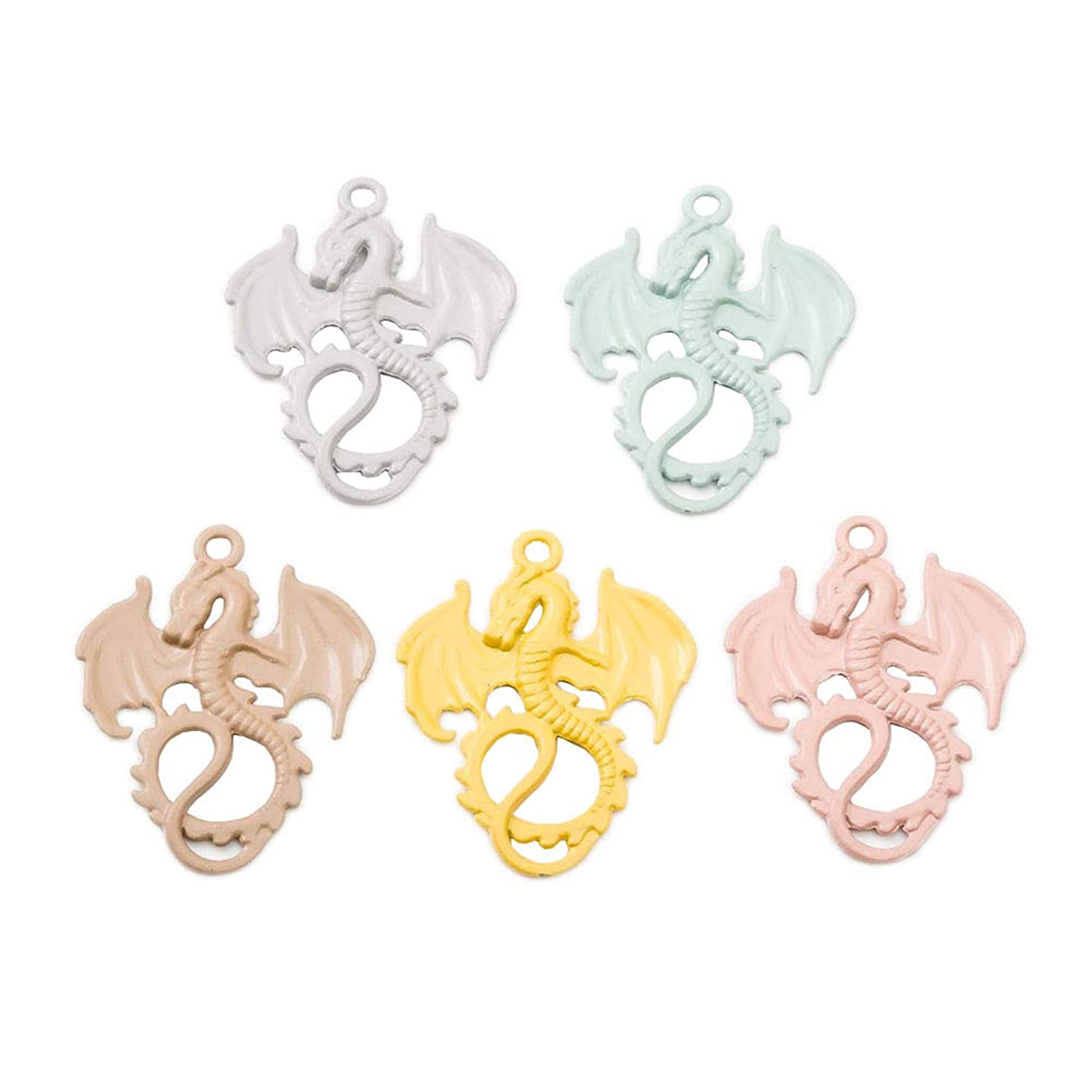 20pcs Mixed Color Vintage Alloy Animal Dragon Charms Pendant Jewelry Findings for Jewelry Making Necklace Bracelet DIY 35x28mm (20pcs Dragon)