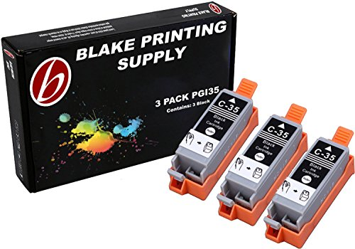 3 Pack Compatible Canon PGI-35 3 Black for use with Canon PIXMA iP100l, PIXMA mini260, PIXMA mini320, RFB IP100. Ink Cartridges for inkjet printers. PGI-35-BK / 1509B002 Blake Printing Supply