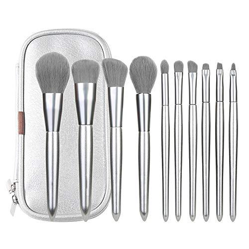 WHBQ Pinceau Maquillage Outils Portatifs Beauté Fibre De Fard à Paupières d'argent De Base en Aluminium Dix pour des Professionnels Et des Débutants