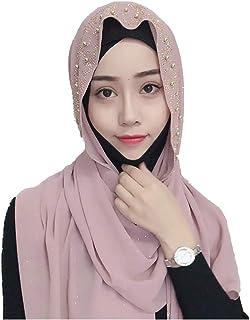 KRUIHAN Islámico Turbante Mujer Envuelva los Sombreros - Resplandecer Lentejuelas Hijab Ramadan Orar Medio Este Arabe