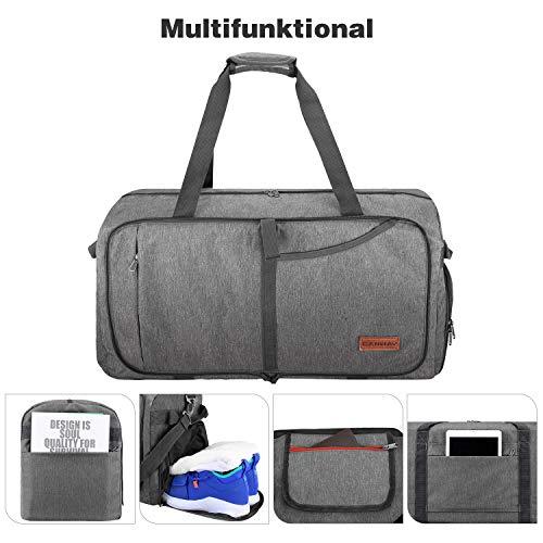CANWAY CANWAY Faltbare Reisetasche Leicht Sporttasche mit Abnehmbar Schulterriemen & Schuhfach Reisegepäck für Reisen Sport Gym Urlaub (Grau, 115L)