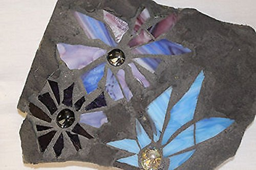 Handmade Blue Stain Glass Flower Garden Art