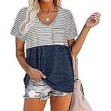 Qianliuk T-Shirt Donna Girocollo Colore Cuciture con Tasca concisa Semplice vestibilità Ampia Comoda Manica Corta Top