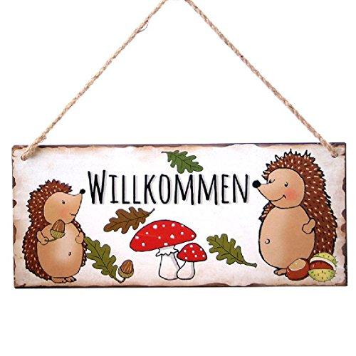 Schild Willkommen mit Igel-Deko / 30,5x13cm / Metallschild