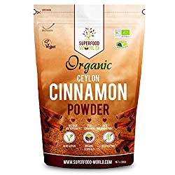 PREMIUM TRUE ORGANIC CEYLON CINNAMON: Superfood World brings you the finest True Organic Ceylon Cinnamon Powder from Sri Lanka. Our Pure Ceylon Cinnamon is superior to common cheaper Cassio Cinnamon found in supermarket which have high levels of Coum...