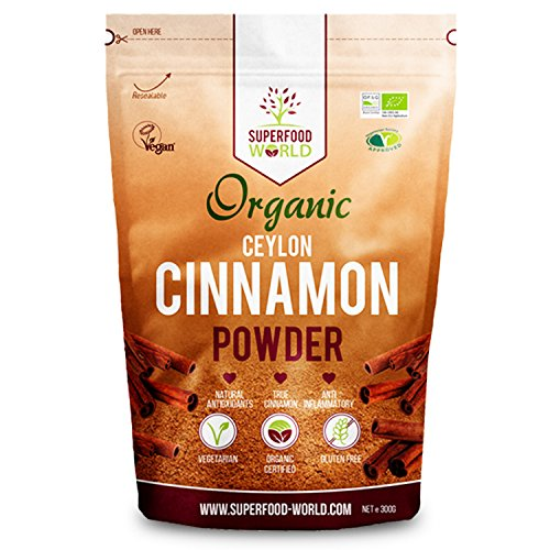 Organic True Ceylon Cinnamon Powder 300g | Premium Ceylon Superfood Packed with Powerful Antioxidants | Anti-Inflammatory & Supports Healthy Blood Sugar | Ideal for Cooking, Tea & Treats