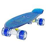 Skateboard LAND SURFER Retro Cruiser avec planche transparente de 56 cm - Roulements ABEC-7 - Roues de 59 mm e DEL qui...