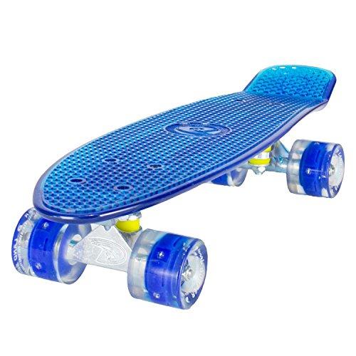 LAND SURFER® Skateboard Cruiser Retro 56cm – cojinetes ABEC-7 – Ruedas que se iluminan 59mm PU + bolsa para el transporte - Tabla Azul Transparente/Ruedas Azules