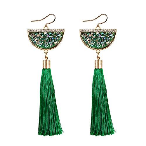 ZIYOU Bohemian Ohrring Ohrhänger, Frauen Baumeln Ohrringe Troddel Mode Wunderschöne Schmuck für Damen (Grün-B)
