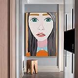 yaoxingfu Sin Marco Lienzo de Personaje de Dibujos Animados Abstracto ng Cigarette Girl Poster Print para Sala de Estar Dormitorio HD 30x45cm