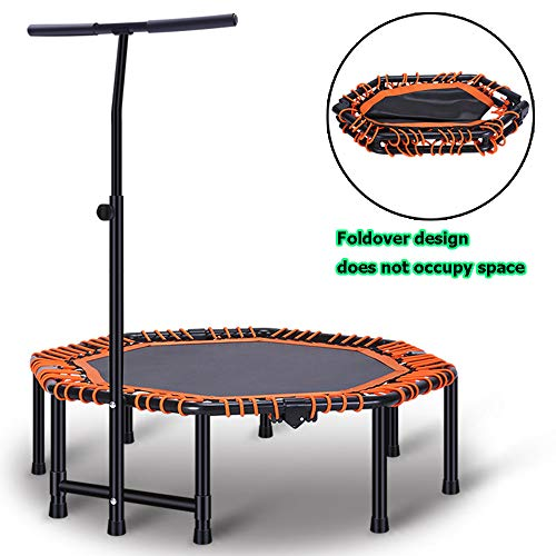 Fitness Trampoline Adult With Handle Adjustable Ultra Quiet Fitness Mini Octagon Foldable Trampoline Safe Elastic Band Indoor Fitness Home Workout Cardio Training