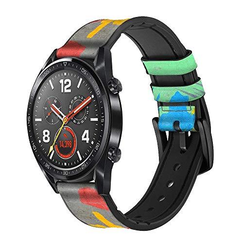 Innovedesire Brush Stroke Correa de Reloj Inteligente de Cuero y Silicona para Wristwatch Smartwatch Smart Watch Tamaño (20mm)