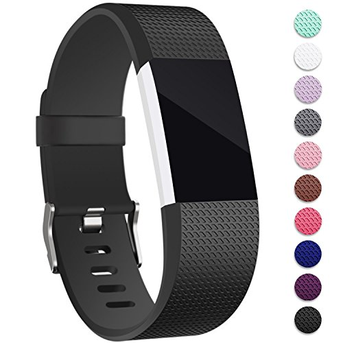 Mornex Für Fitbit Charge 2 Armband, Original Ersatzarmband Sport Fitness Watch Band Large, Schwarz