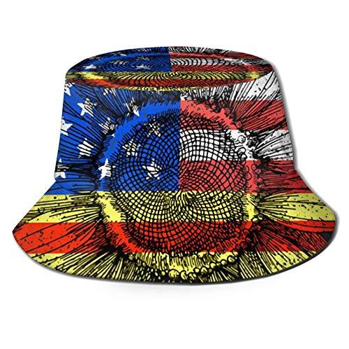 GAHAHA Fischerhüte für Herren, Flagge, Sonnenblumen, Fischermütze, atmungsaktiv, UV-Schutz, Unisex, faltbar, Sommerhut