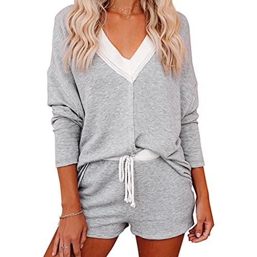 zhangcr Awkward Damen-Pyjama-Set, langärmelig, V-Ausschnitt, lockere Oberteile, Kordelzug, Shorts, Loungewear