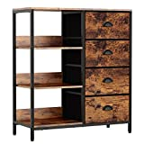 Furologee Fabric Dresser with 4 Drawers and Shelf,Lightweight Storage Cabinet, Industrial Side Cabinet,Clothes/Files Storage Organizer for Bedroom,Office,Entryway,Kitchen (Rustic Brown)