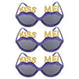 ABOOFAN 3Pcs Funny Glasses Costume Frames Novelty Kiss Me Eyeglasses Party Props Funny Eyewear for Women Kids Wedding Birthday Xmas Photos Props