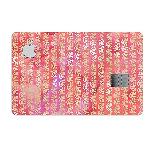The Red and Purple Grungy Gold Semi-Circles - Ultra-Thin & Vinyl Decal Protective Wrap Skin Cover compatible with the Apple Credit Card