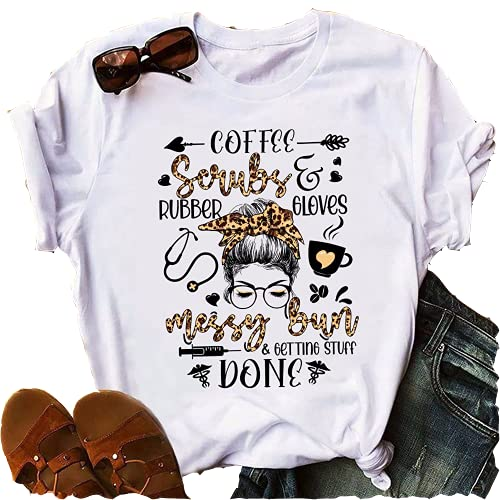 Funny Nurse Shirts,Coffee Scrubs And Rubber Gloves Shirt, Nurse Life Shirt, Leopard Print T Shirt
