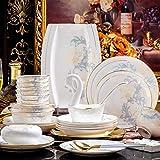 Vajilla de cocina set Cena Vajilla Tazón de cerámica Combinación Conjunto del plato, blanco (Color: Blanco) yqaae (Color : White)