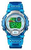 Orologi digitali per ragazze ragazzi, 5ATM impermeabile orologio sportivo per bambini con allarme/multicolore LED luminoso, Orologi da polso digitali per bambini compleanno regalo degli Natale blu