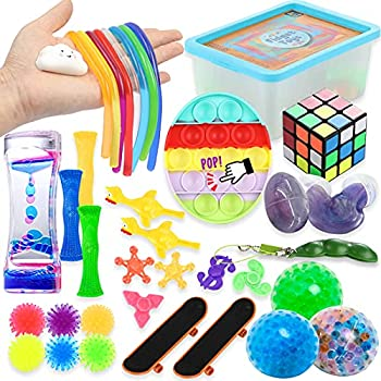 Fidget Toys Set 36 Pack Sensory Relieves Stress & Anxiety Squeeze Toy for Kids Teens and Adults ADHD ADD Autism Fun Fidgeting Game for Classroom & Office with Stress Balls Magic Cube,Fidget Spinner