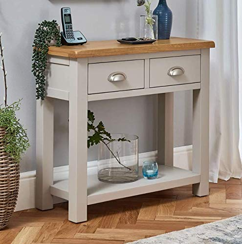 The Furniture Market Cotswold Grey Painted 2 Drawer Hall Console Table