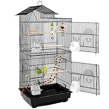 PEDY Volière Oiseaux, Cage à Oiseaux, Cage à Pperruche en Métal avec Jouets et Escalier à Oiseaux, 46 x 35,5 x 99,5 cm, pour Canaris, Cockatiels, Perroquets, Pigeons, Pinsons